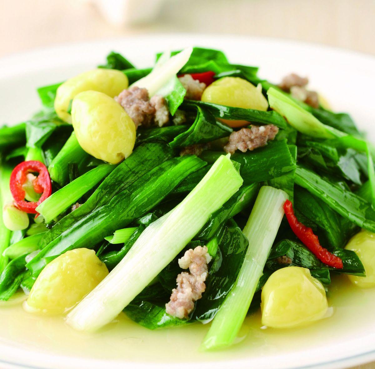 食譜:肉末白果炒韭菜