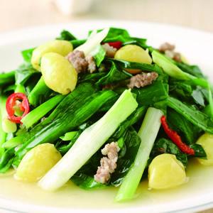 肉末白果炒韭菜