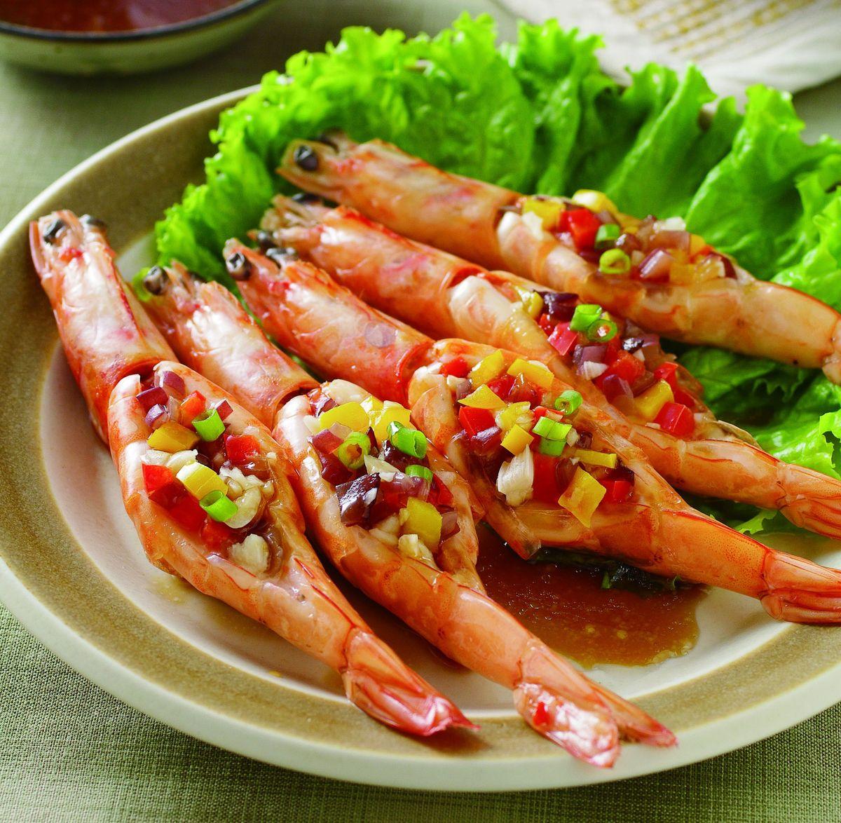 食譜:五彩蒜蓉蒸蝦