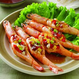 五彩蒜蓉蒸蝦