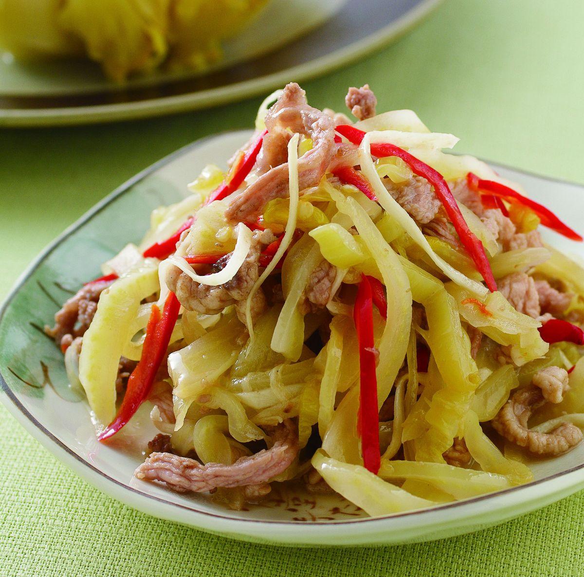 食譜:酸菜辣椒肉絲