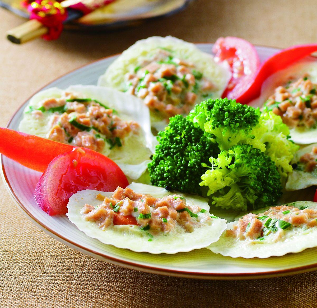 食譜:火腿蒸扇貝