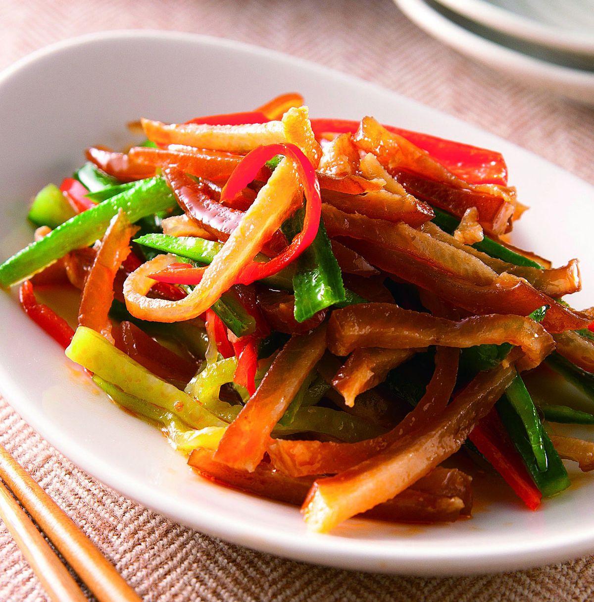 食譜:黃瓜辣味豬皮絲