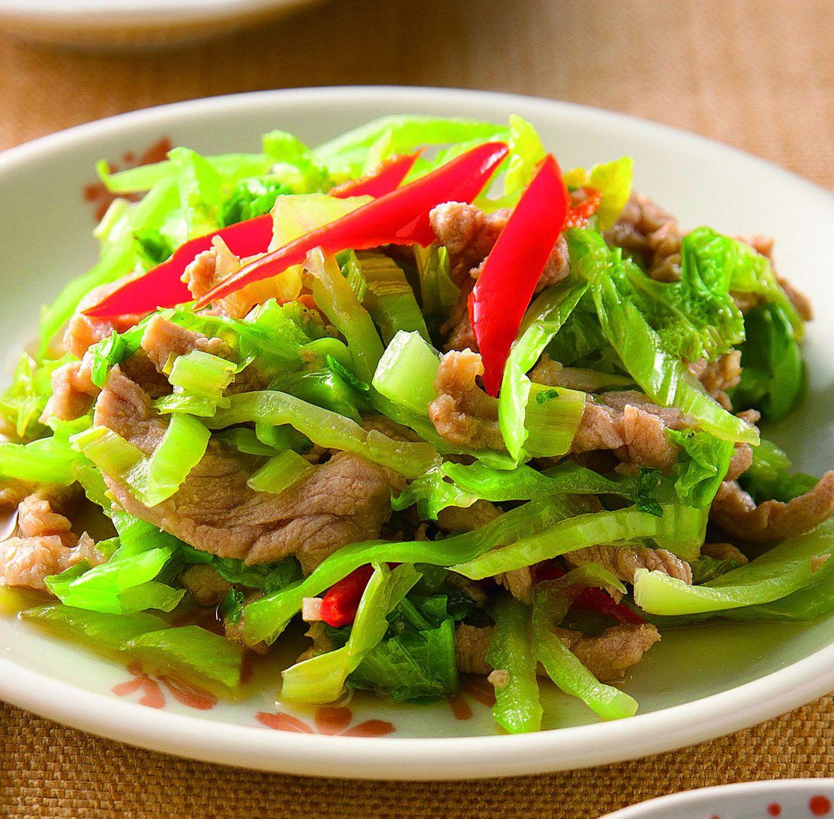 食譜:芥菜葉辣炒肉絲