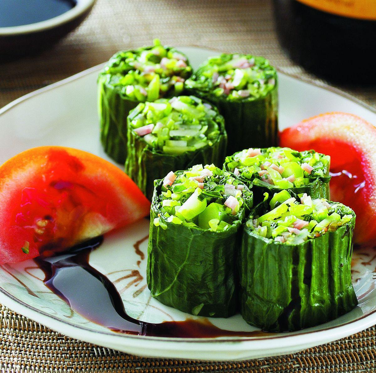 食譜:蒜香芥蘭卷