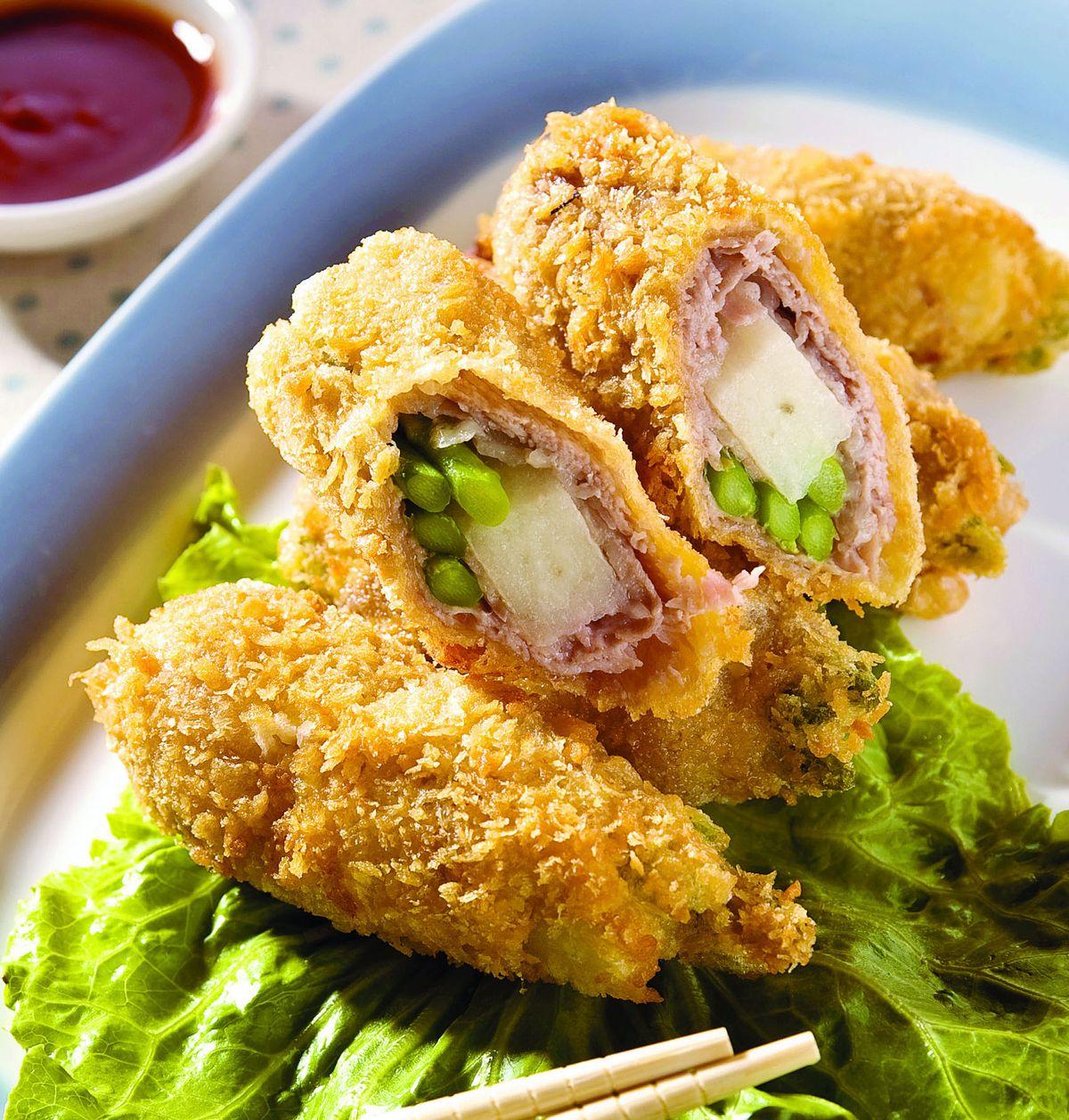 食譜:山藥蘆筍豬排卷