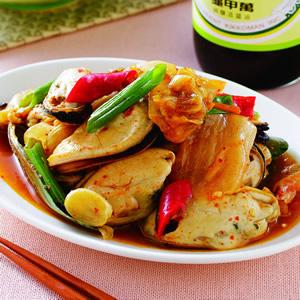 泡菜炒孔雀貝