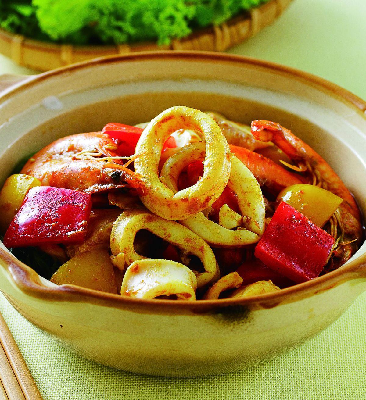 食譜:沙嗲海鮮煲