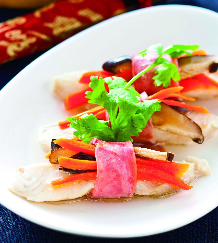 食譜:火腿蒸鯛魚片