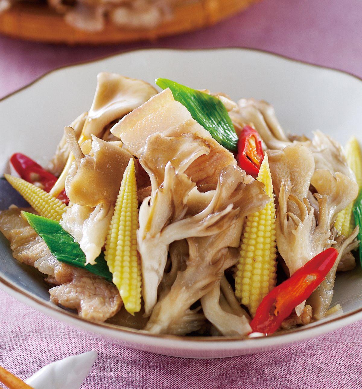 食譜:蒜香五花鮮菇