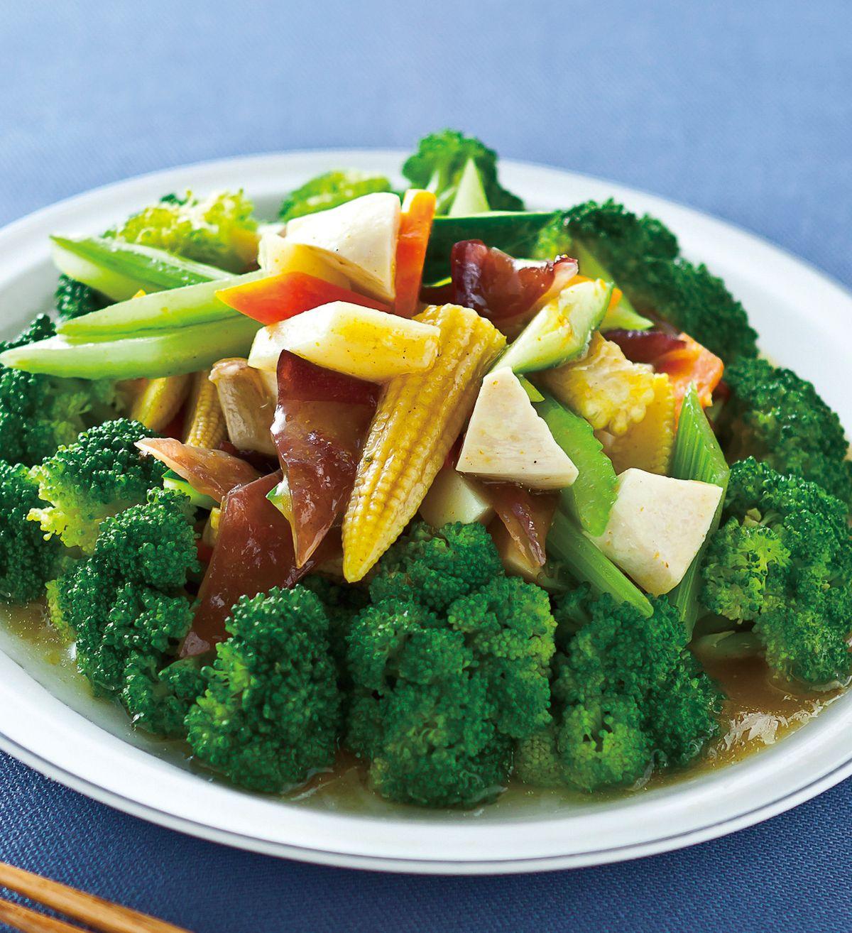 食譜:黃咖哩炒全家福