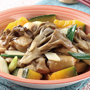 金瓜舞菇蒸嫩雞