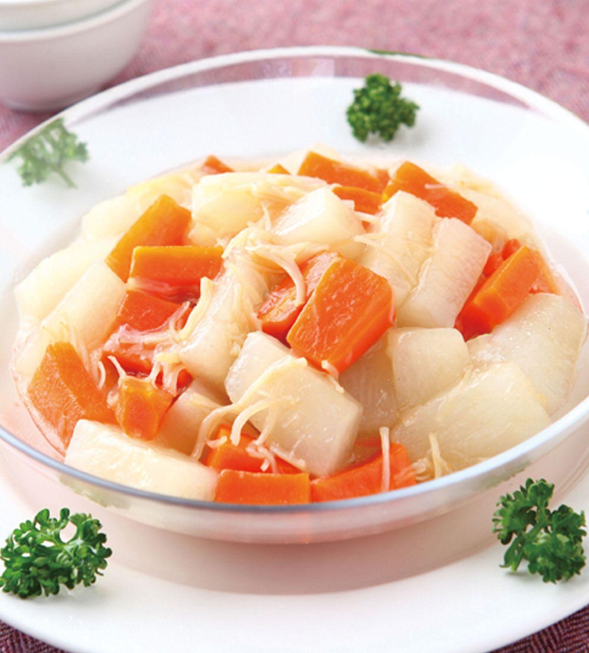 食譜:干貝燴金銀蘿蔔