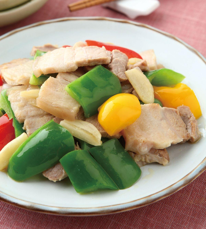 食譜:五花肉片炒彩椒