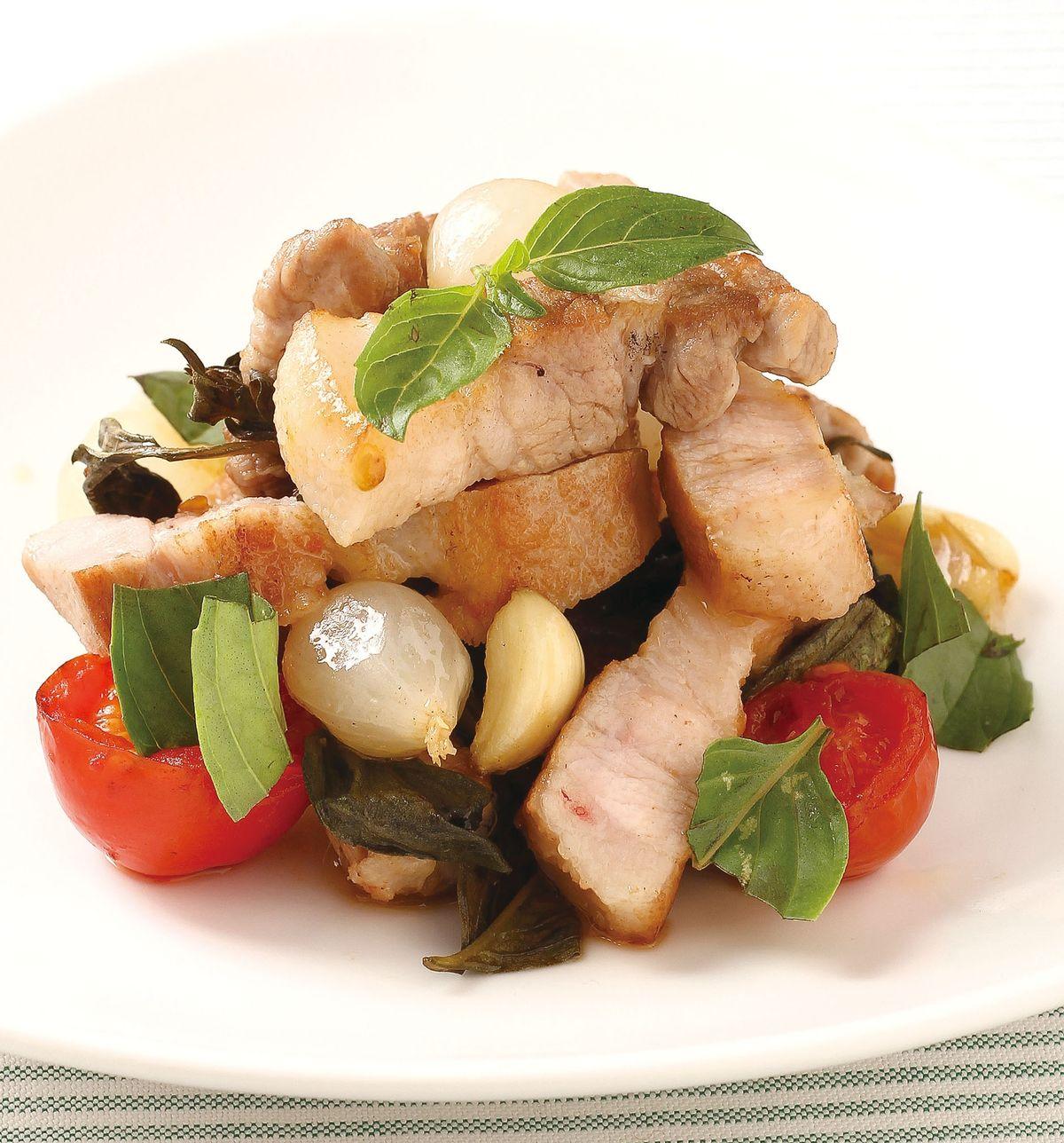 食譜:香煎番茄羅勒松板豬