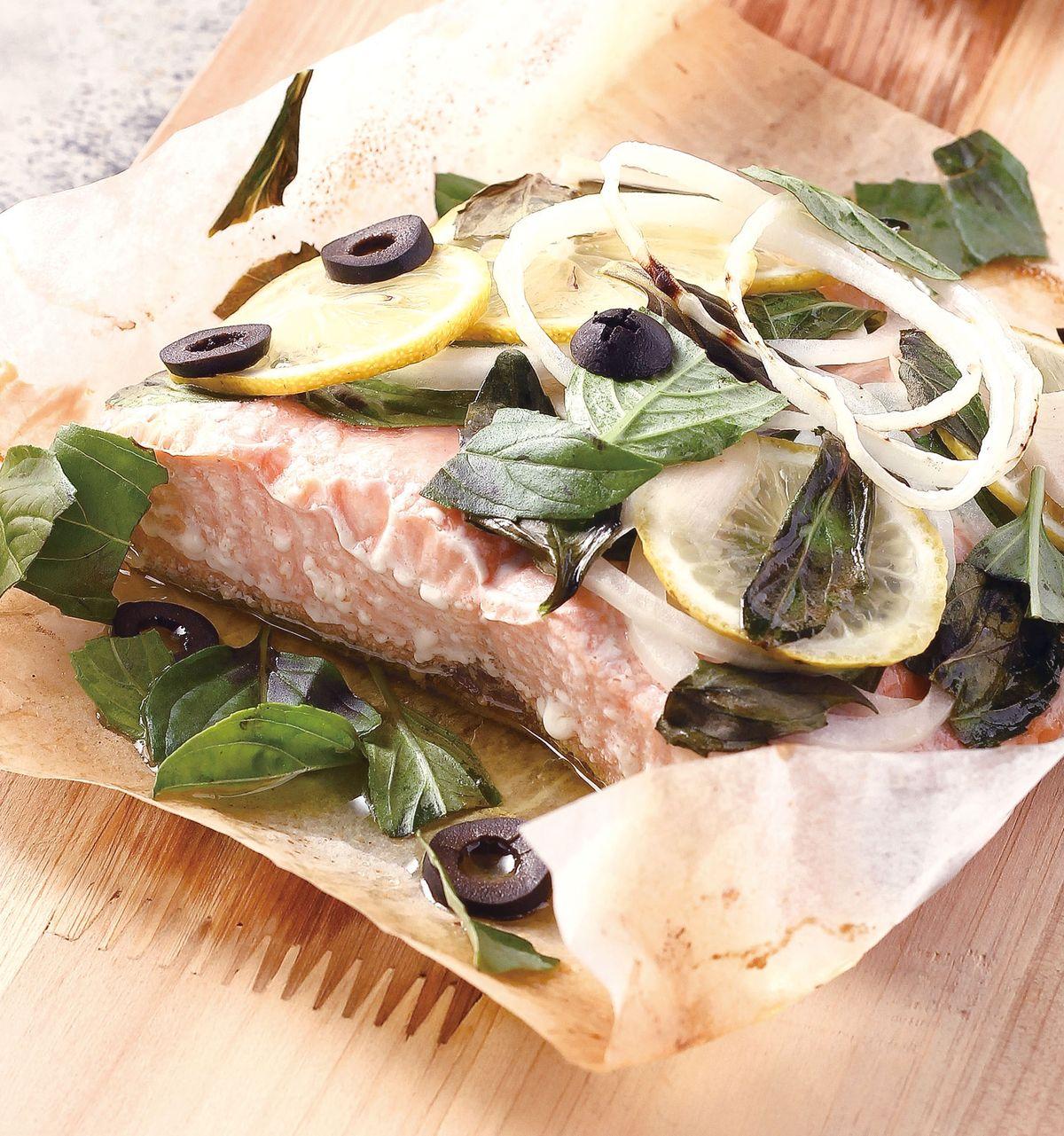 食譜:黃檸檬羅勒烤鮭魚