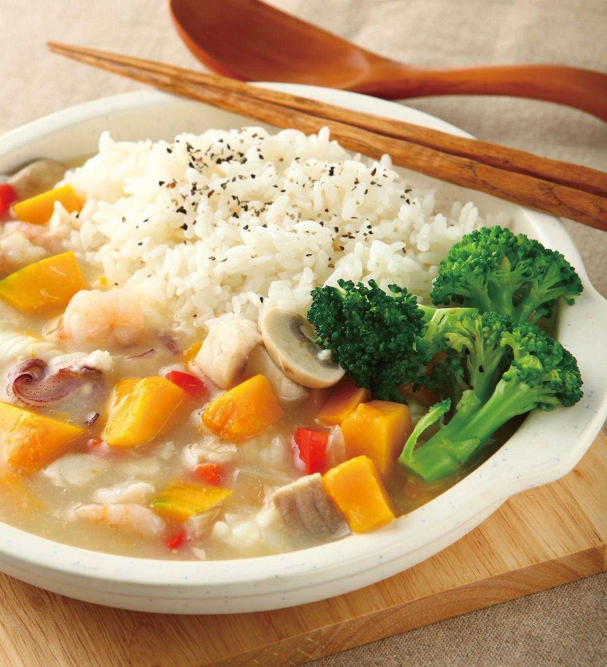 食譜:南瓜海鮮燴飯