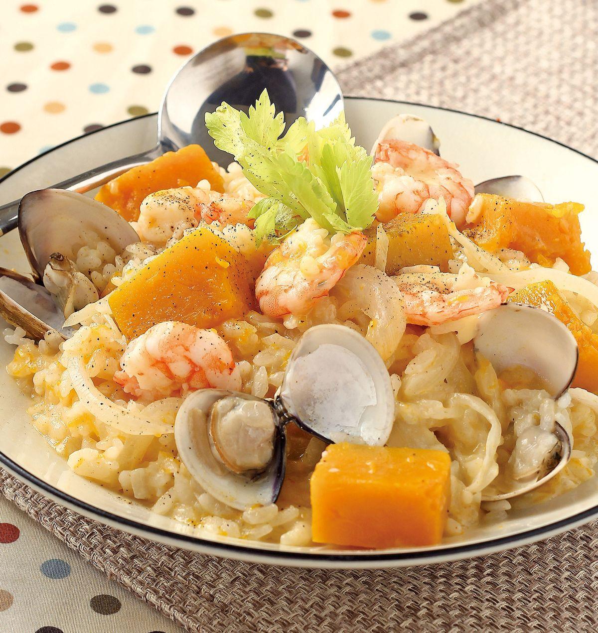 食譜:南瓜海鮮燉飯