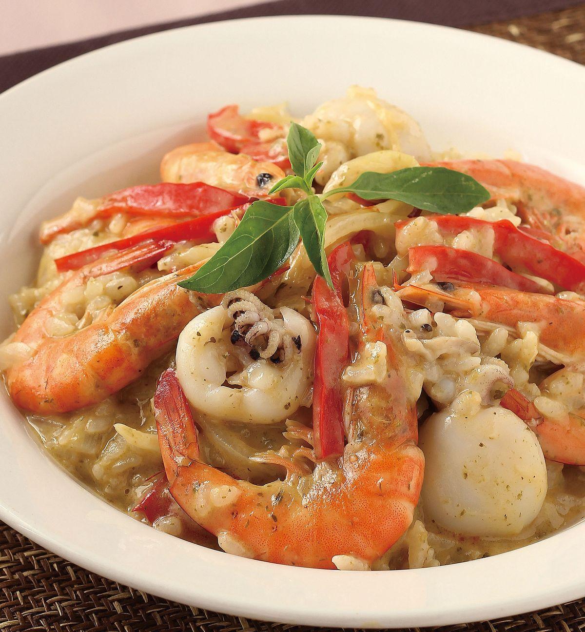 食譜:義大利青醬海鮮燉飯