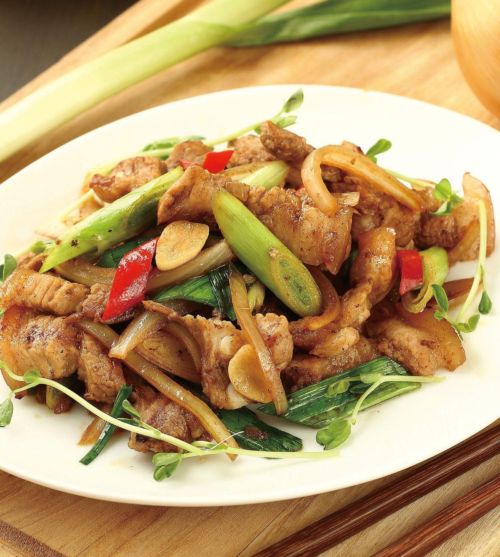食譜:五香蒜苗肉