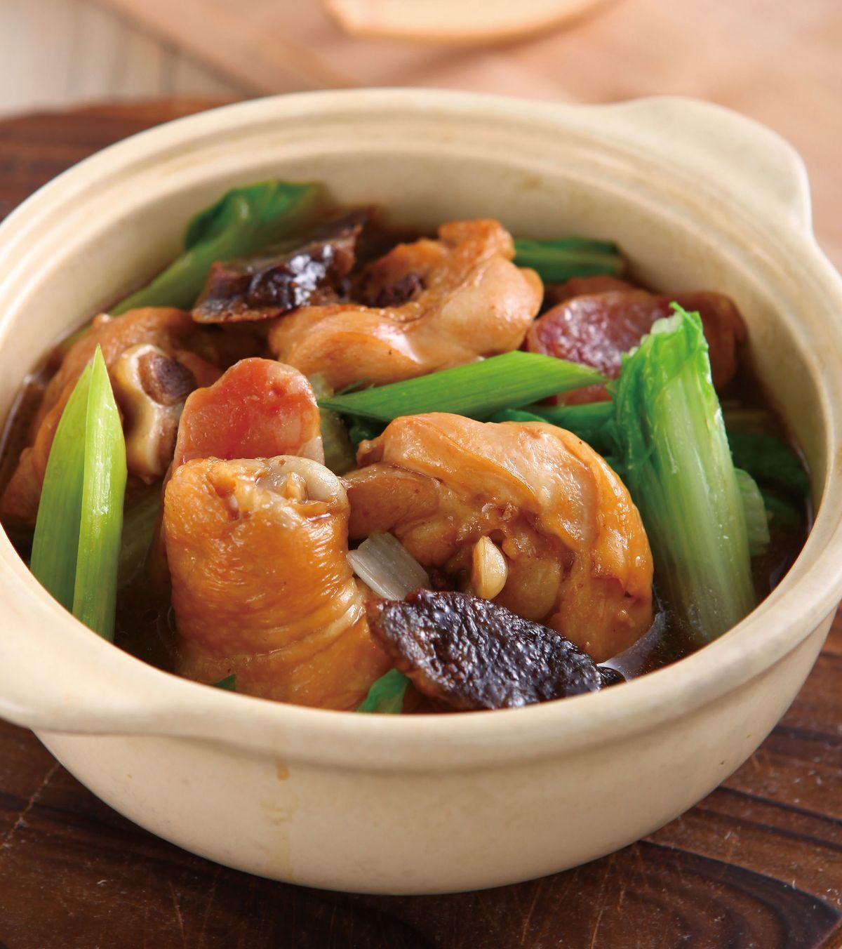食譜:臘味蒜苗雞鍋