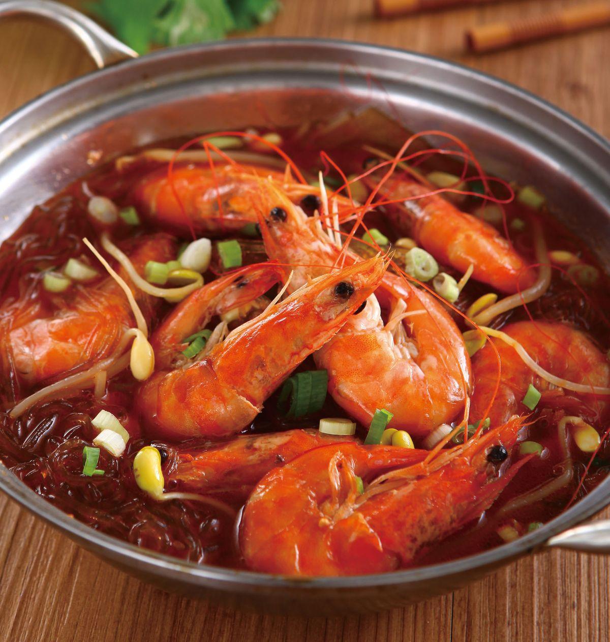 食譜:香辣鮮蝦粉絲鍋