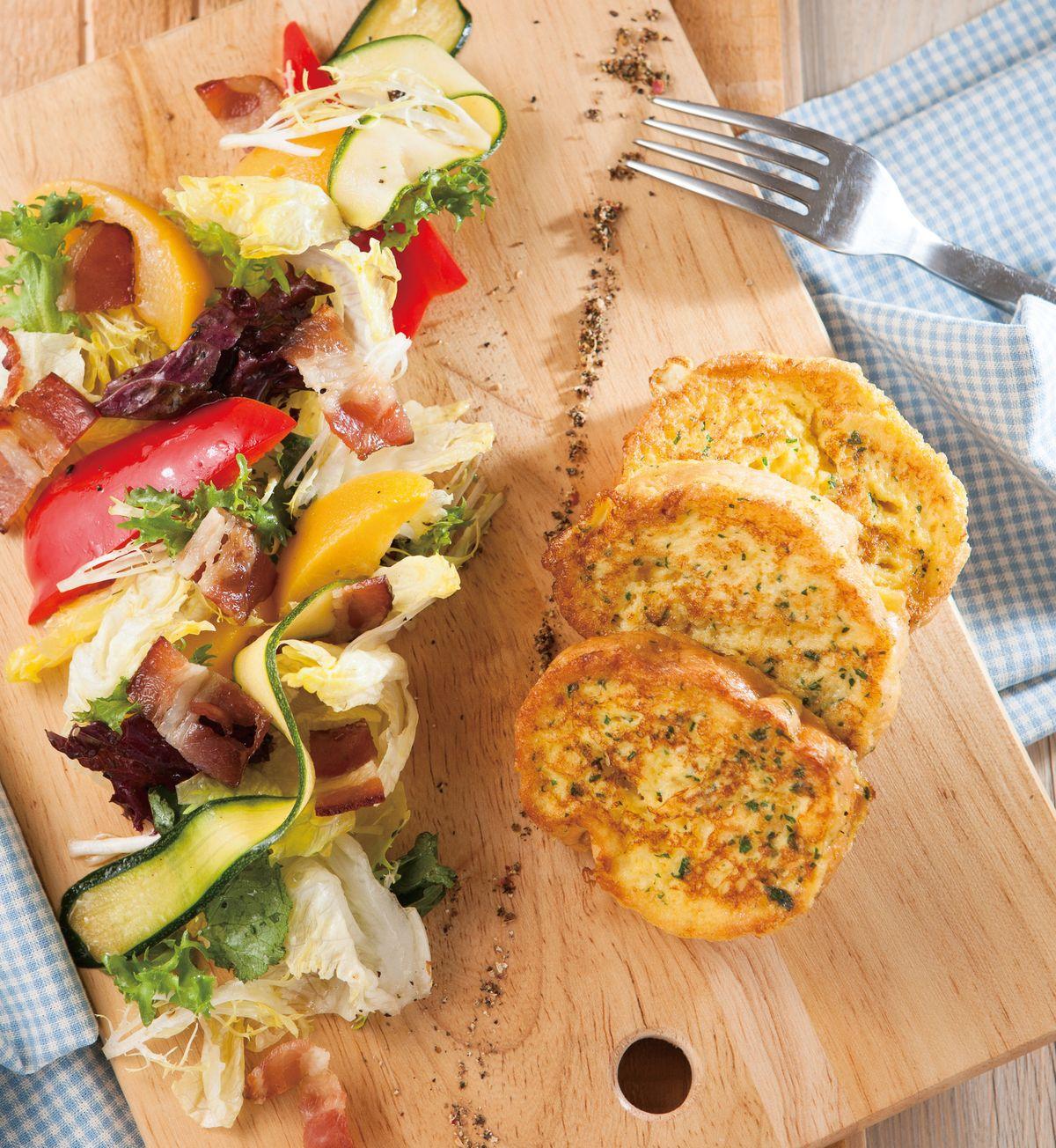 食譜:法國吐司培根沙拉盤