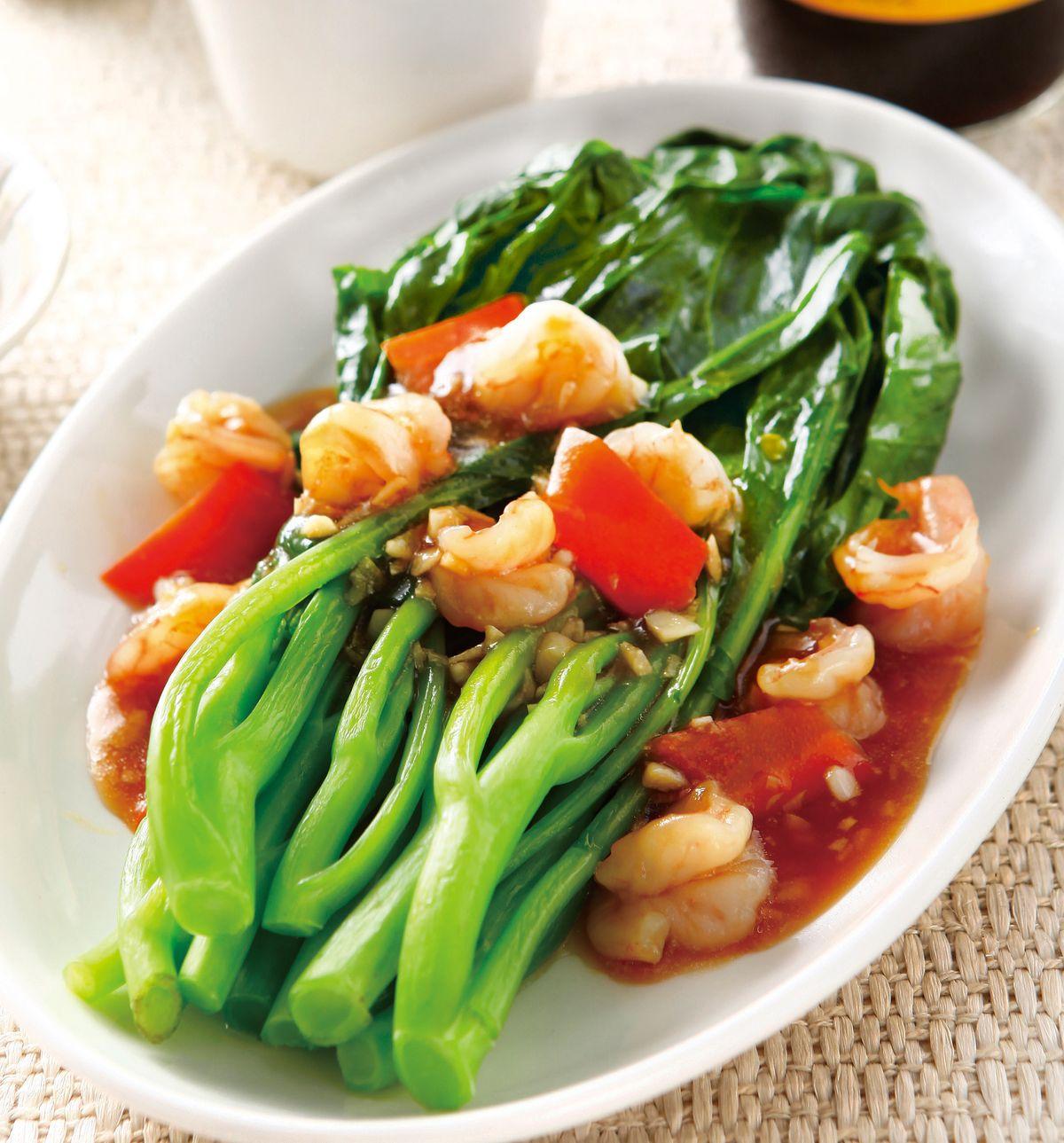 食譜:鮮蝦淋芥藍