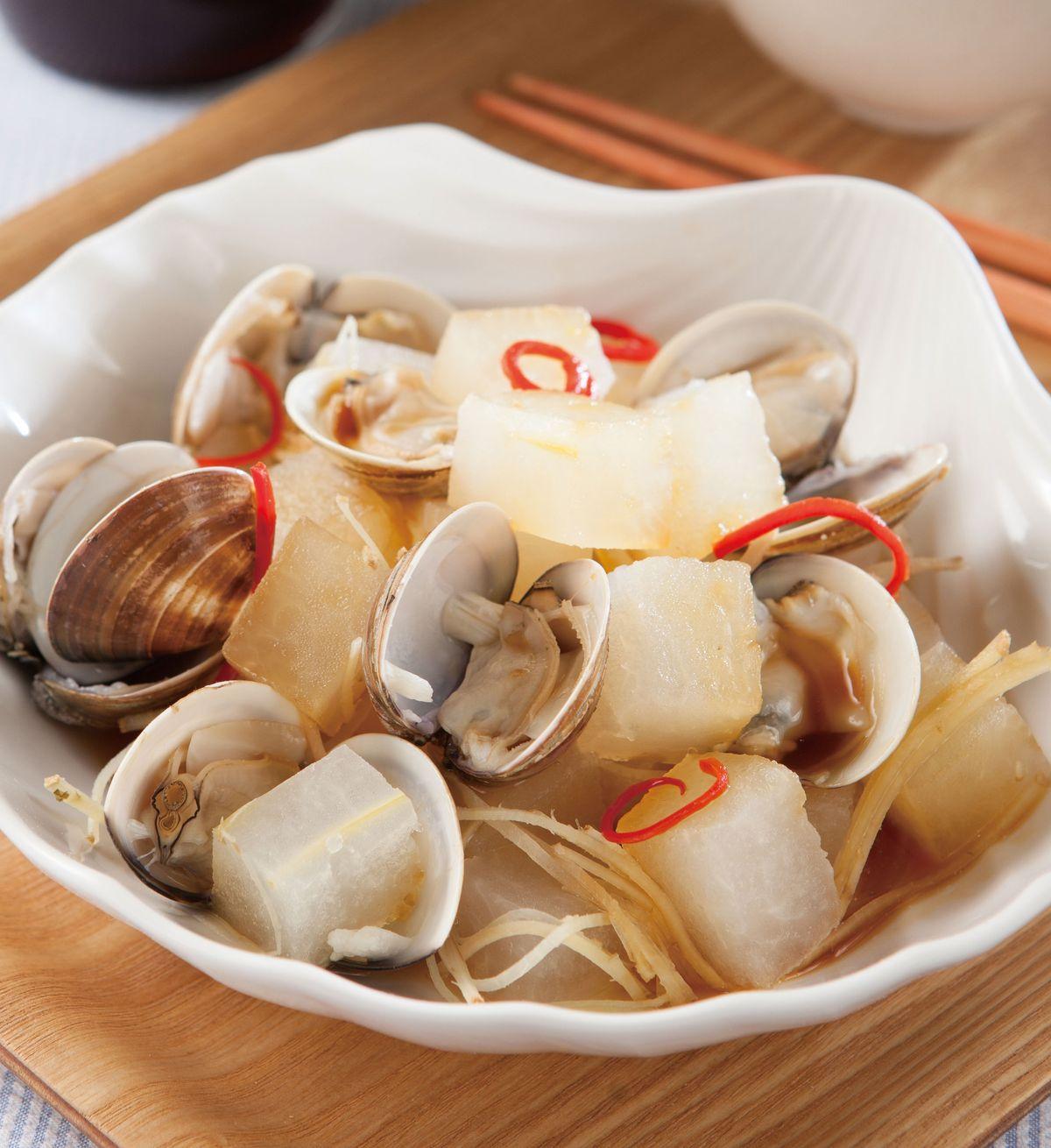 食譜:薑絲蛤蜊蒸冬瓜