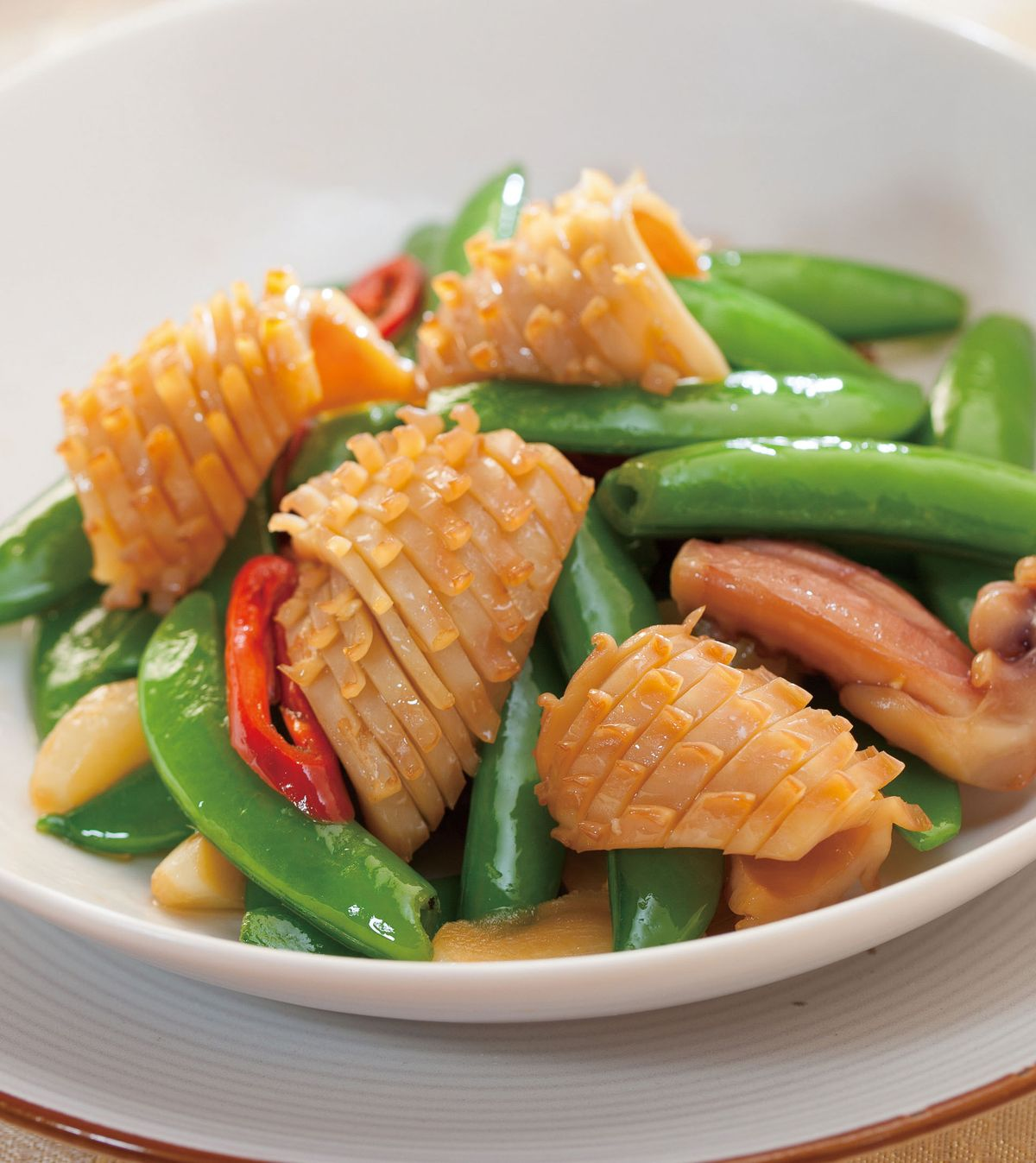 食譜:甜豆炒魷魚