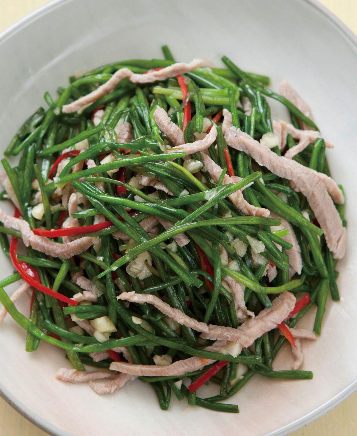 食譜:水蓮拌肉絲