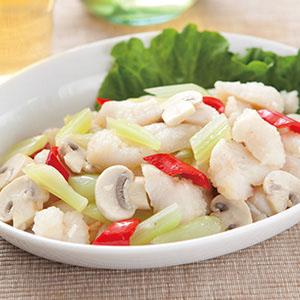 魚片拌蘑菇