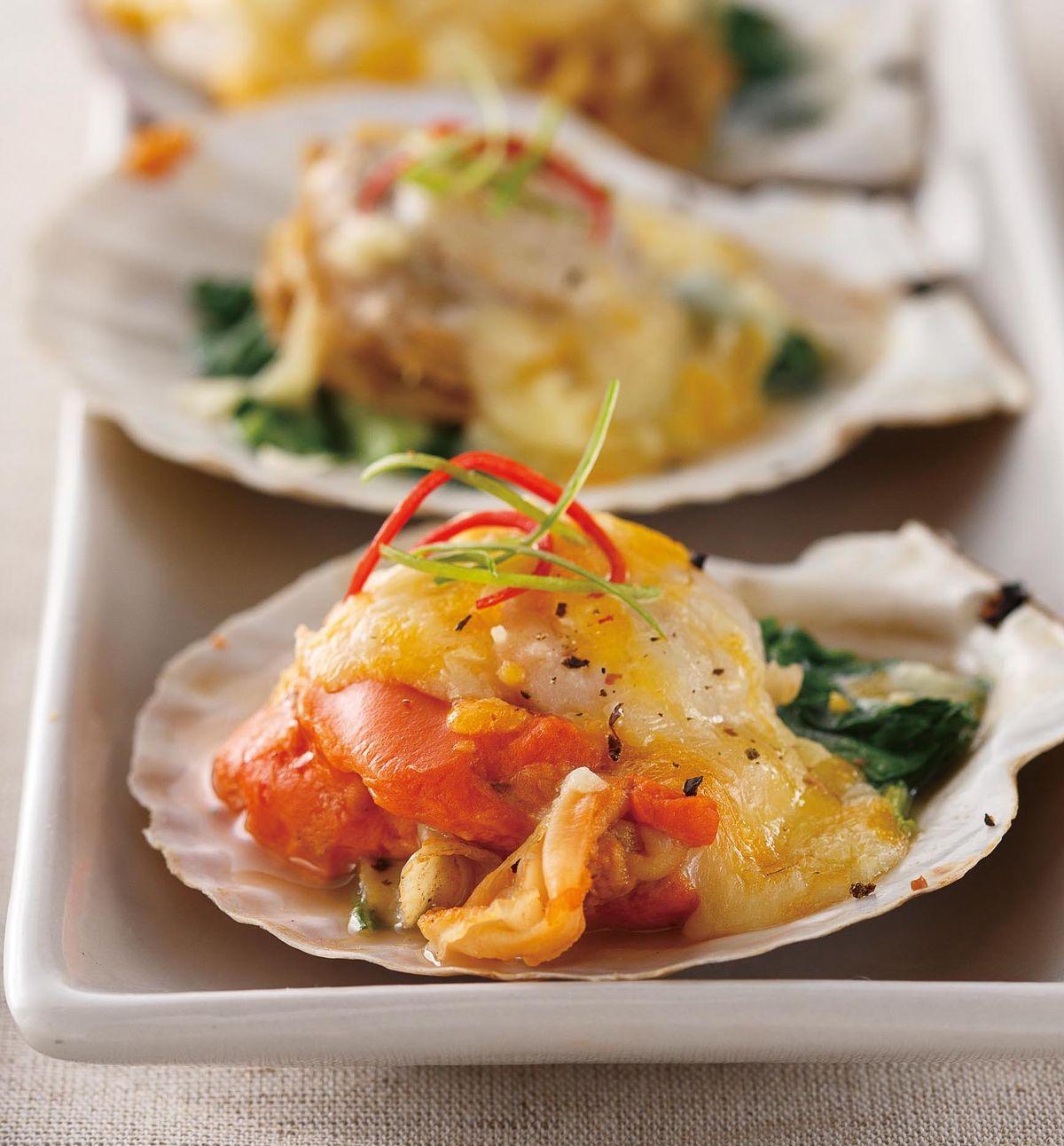 食譜:起司菠菜烤扇貝