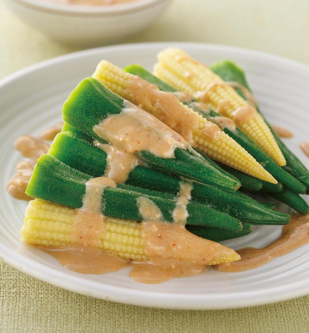 食譜:豆腐乳辣醬玉米筍秋葵