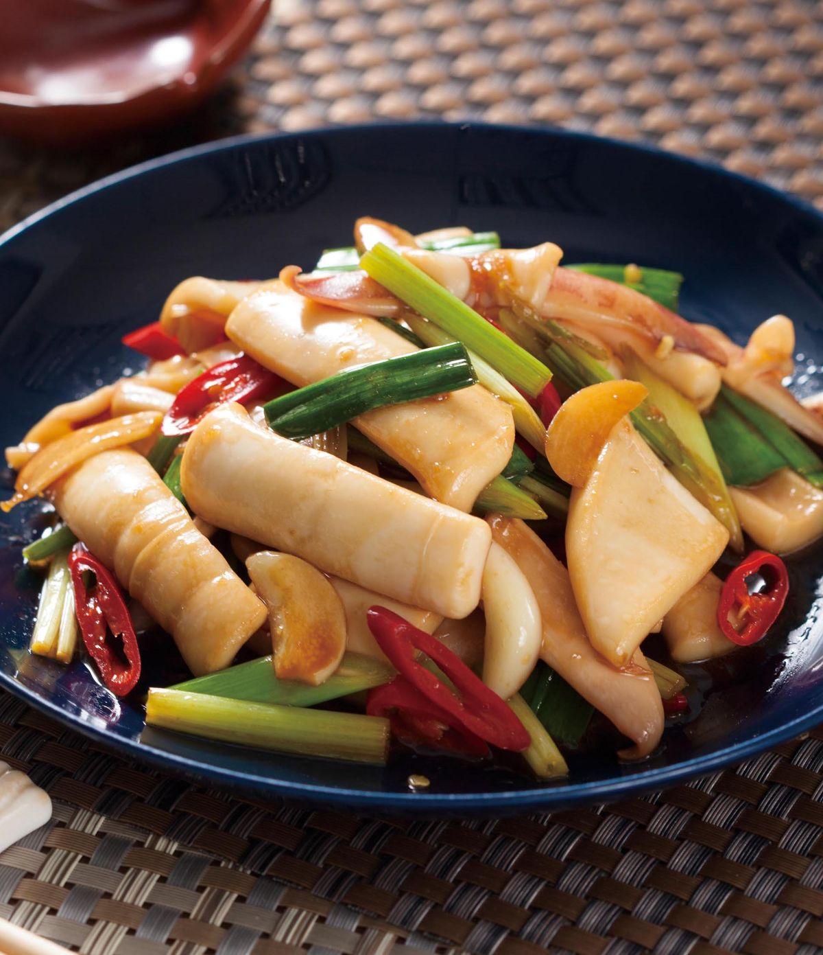 食譜:青蒜炒魷魚