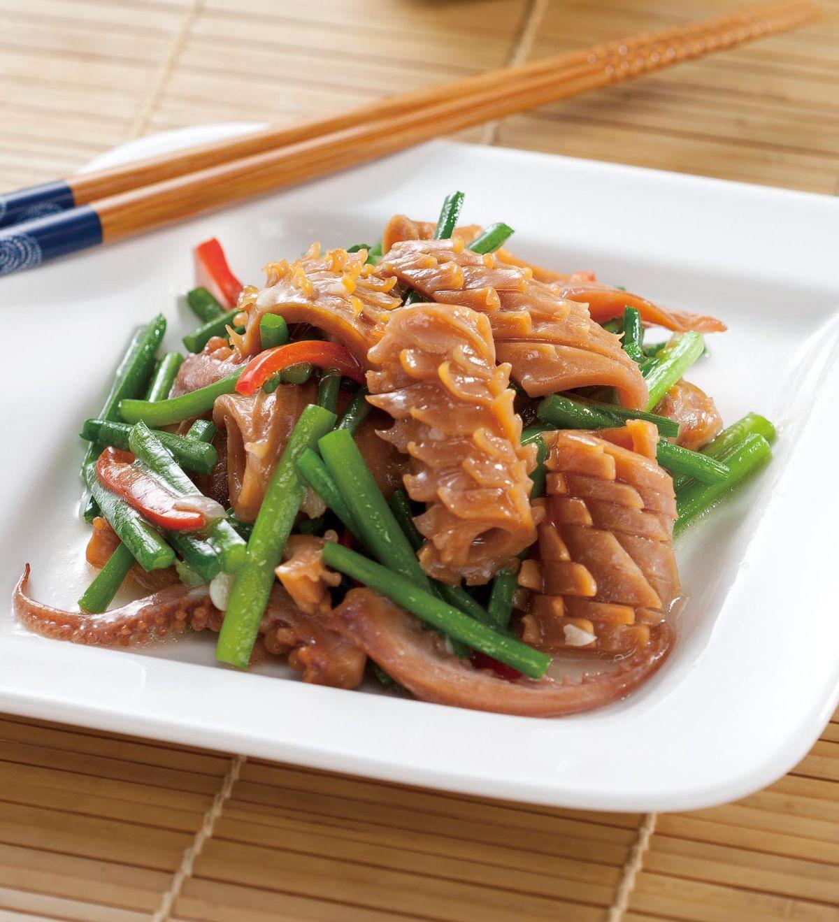 食譜:韭菜花炒魷魚(1)