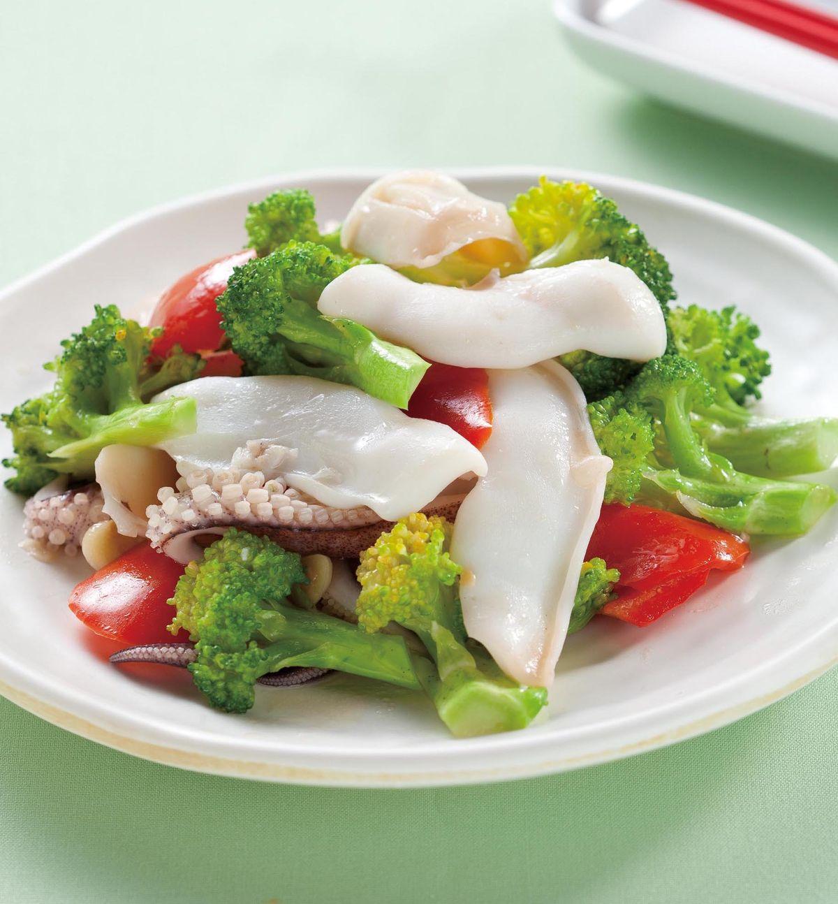 食譜:花椰菜炒軟絲