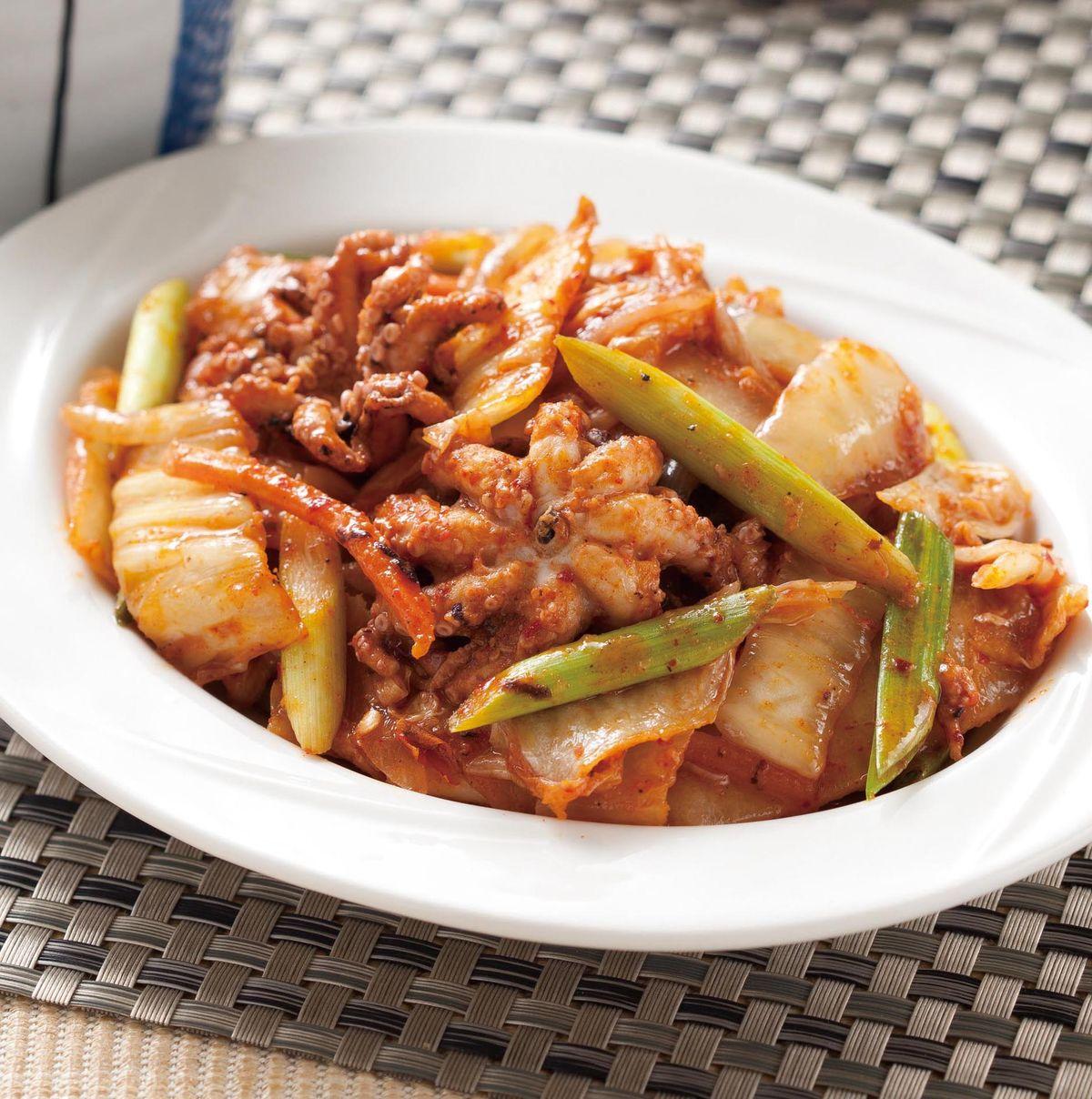 食譜:泡菜炒小章魚
