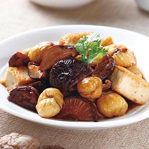 香菇燒栗子百頁豆腐