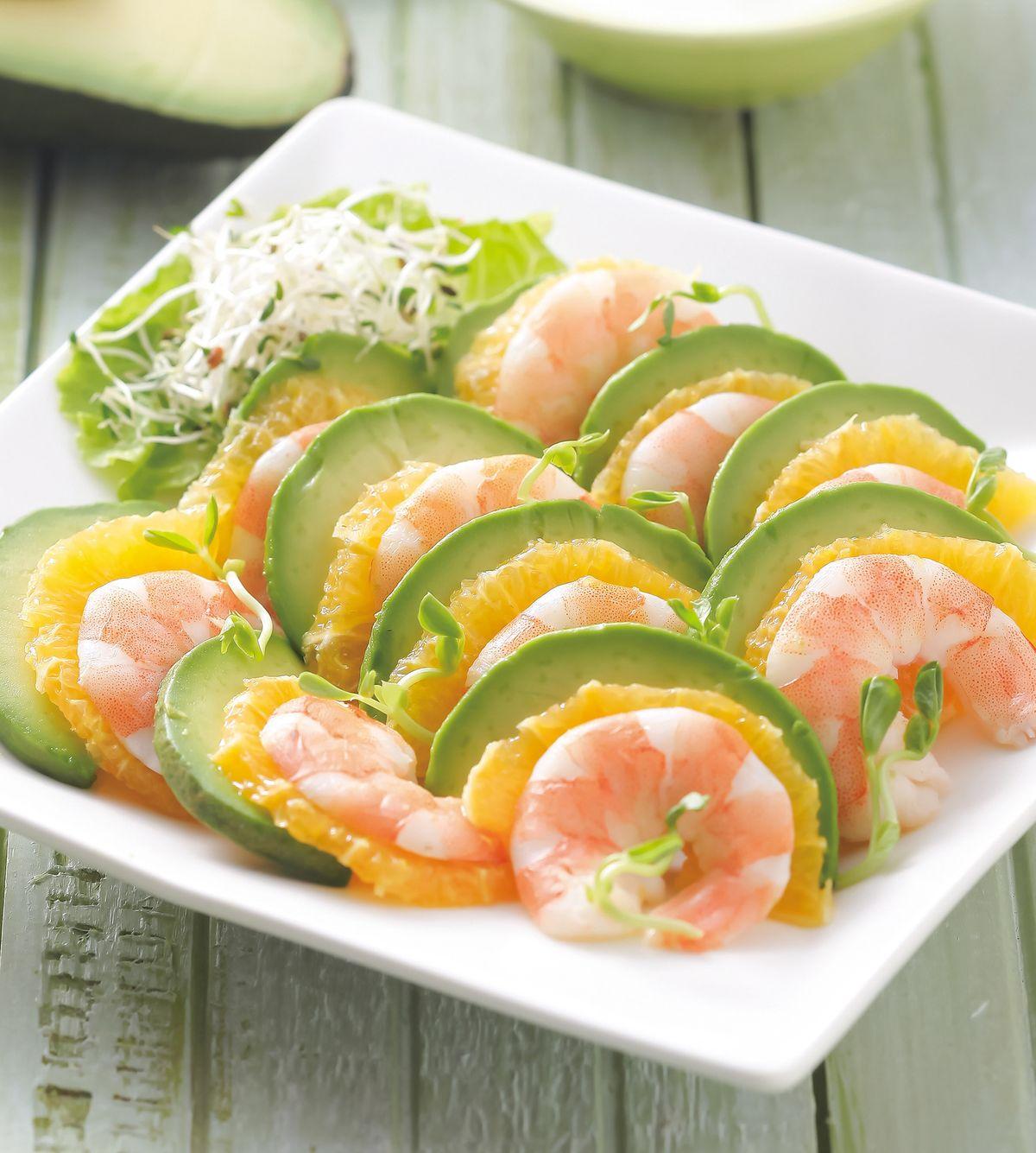 食譜:柳橙酪梨蝦沙拉