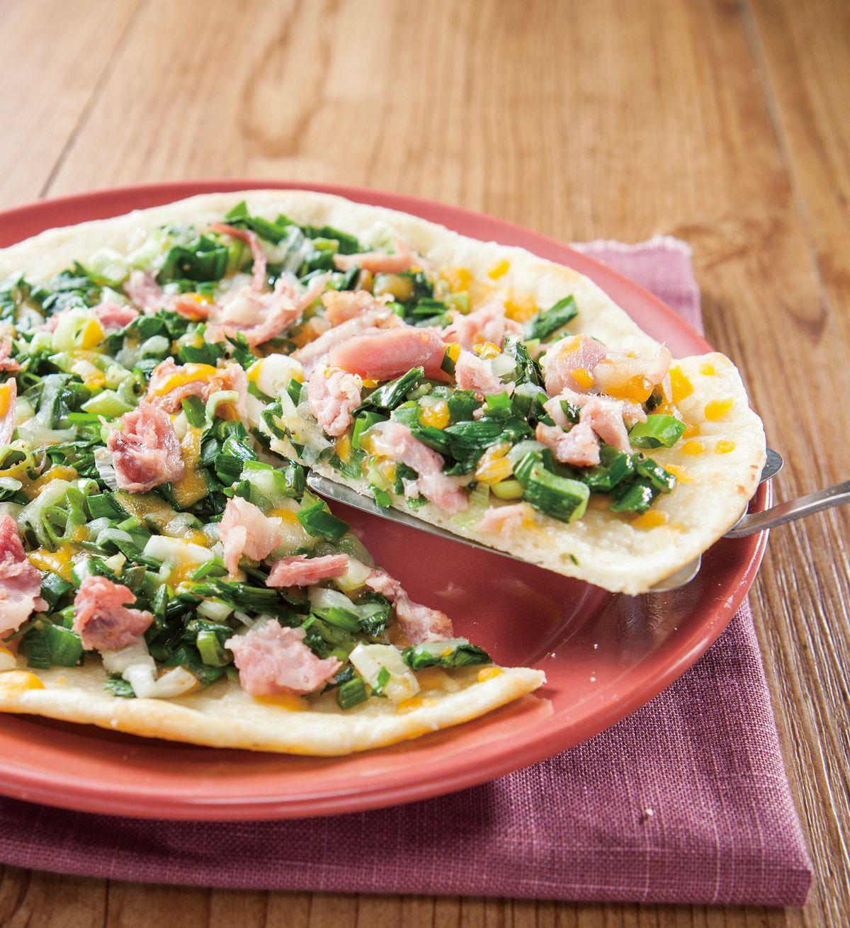食譜:蔥香火腿披薩