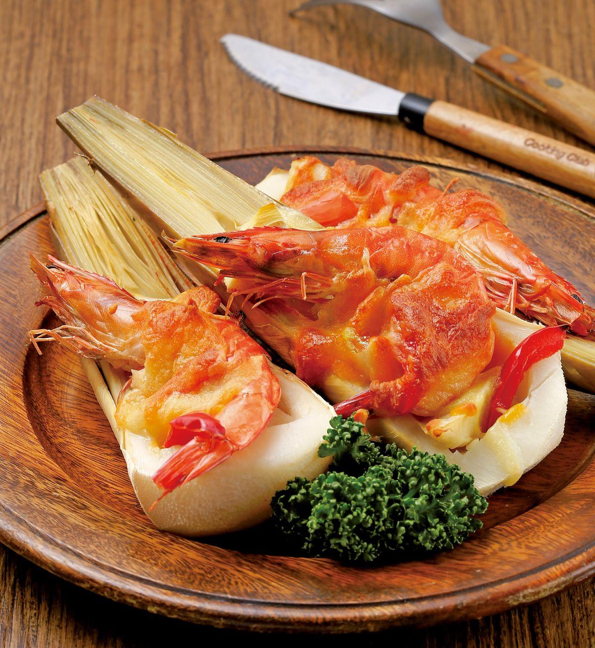 食譜:鮮蝦焗春筍