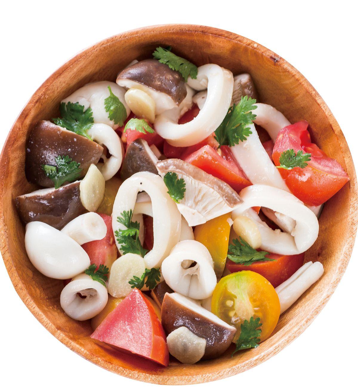 食譜:番茄鮮菇中卷沙拉