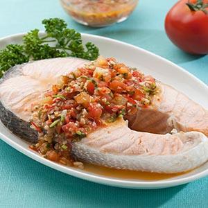 莎莎醬淋鮭魚