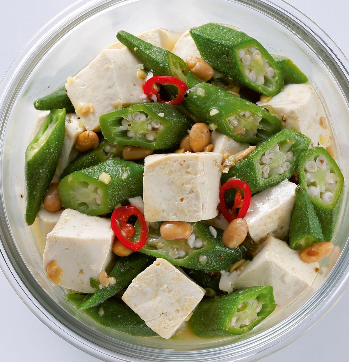 食譜:秋葵炒豆腐