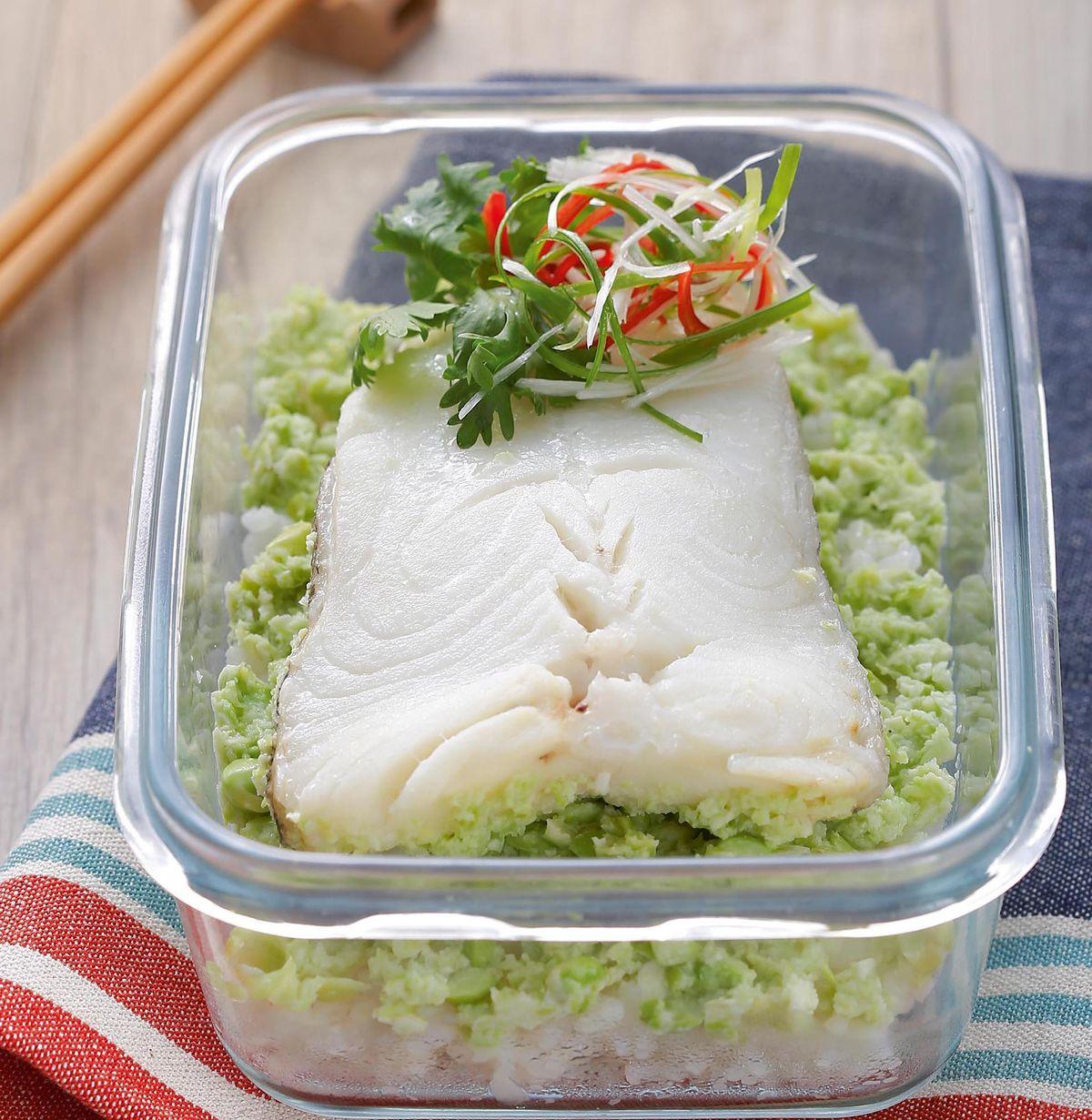 食譜:毛豆泥蒸鱈魚