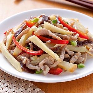 滷茭白筍炒肉絲