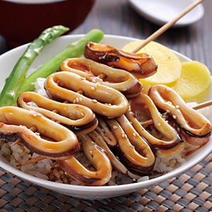 串燒鮮魷蓋飯