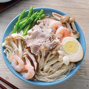 蝦仁肉片鮮菇湯麵
