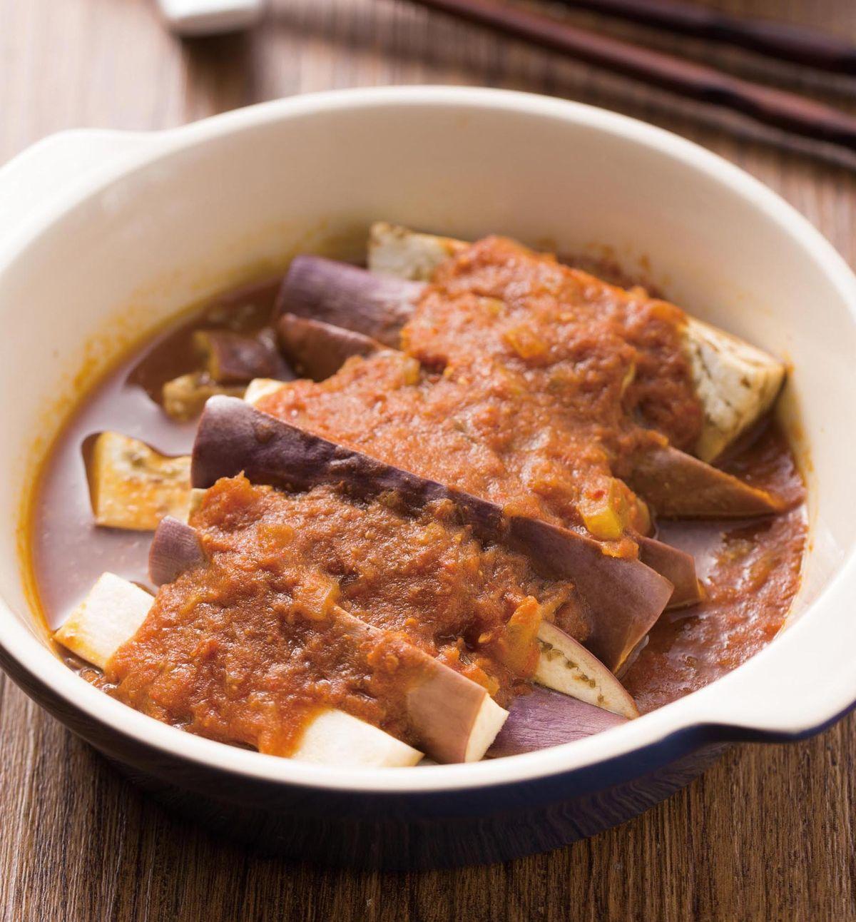 食譜:蕃茄咖哩醬蒸茄子